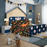TWIN DINOSAUR BROWN BOYS BEDDING SET, Beautiful Microfiber Comforter With Furry Friend and Sheet Set (6 Piece Kids Bed In A Bag)