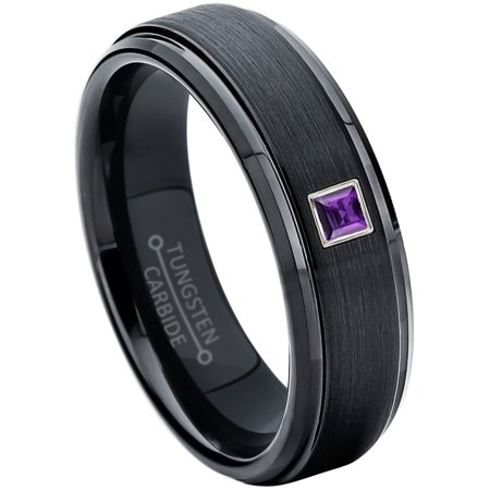 0.05ctw Princess Cut Amethyst Tungsten Ring - 6MM Brushed Black IP Stepped Edge Tungsten Carbide Wedding Band - February Birthstone Ring - 14kt White Gold Bezel - TN085PS-1AMTs9 Dial Tungsten Steel Bezel
