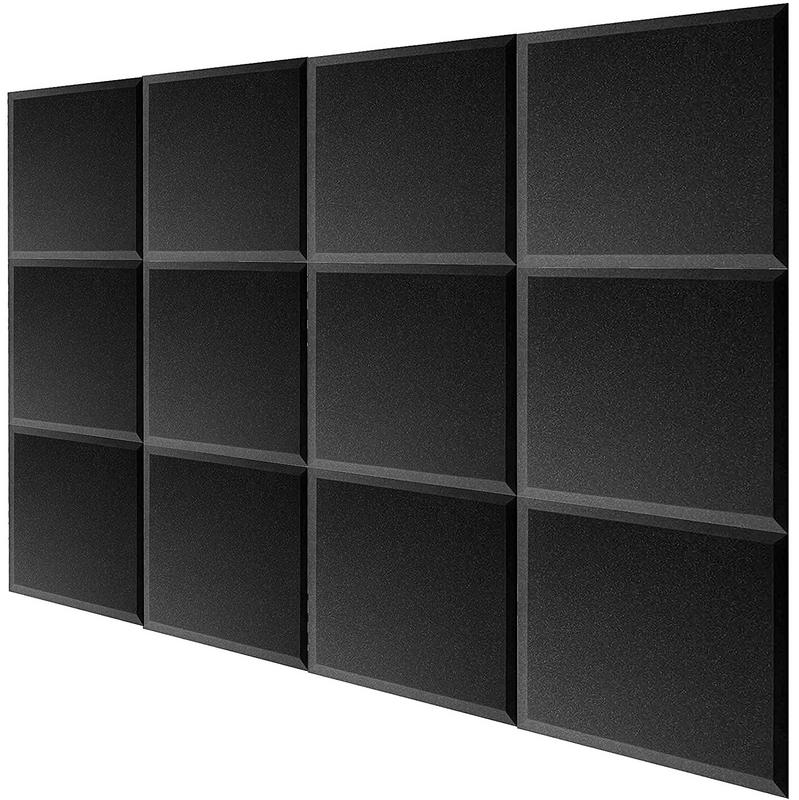 "12 Pack Acoustic Studio Soundproofing Foam Bevel Tiles 12"" X 12"" X 1"""