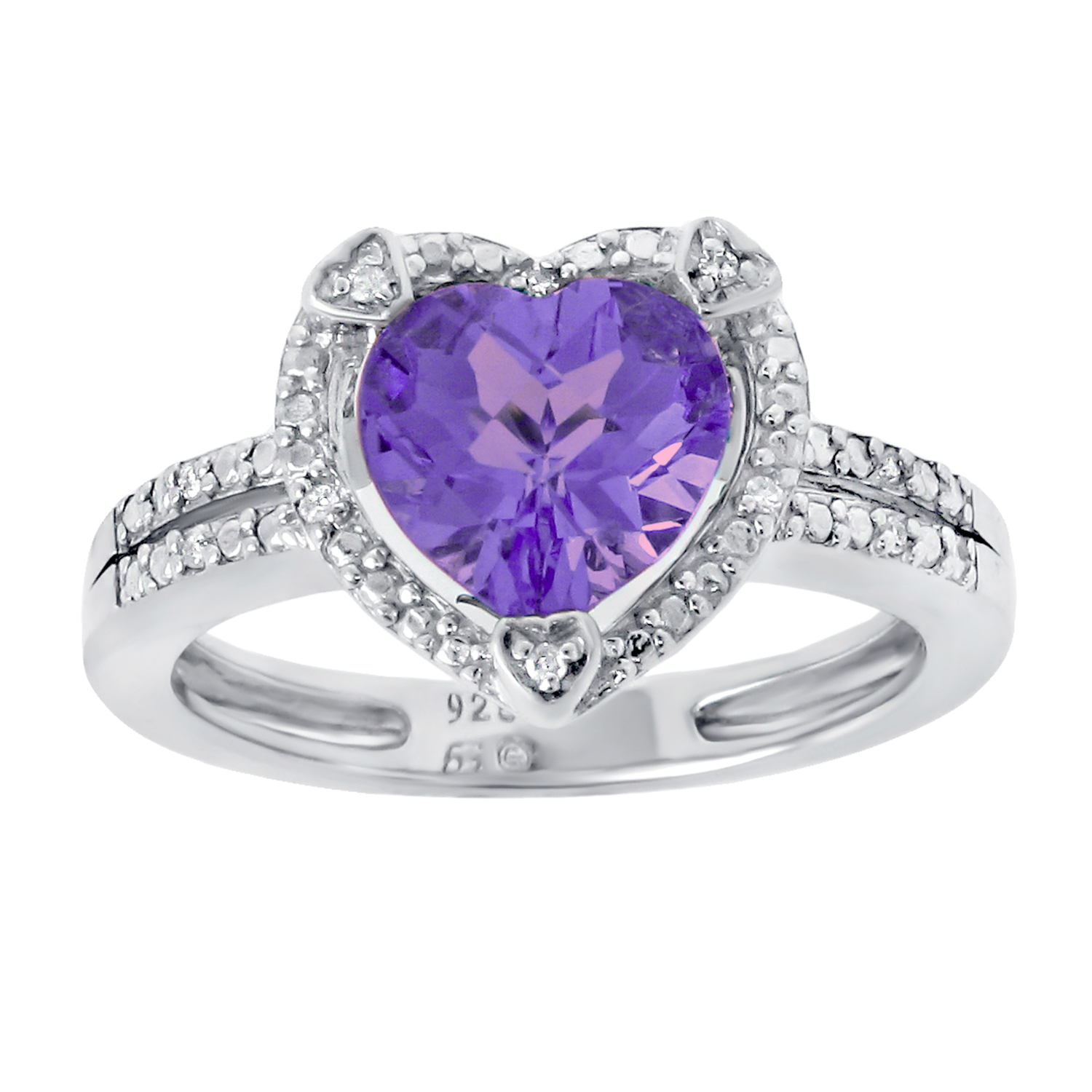 1.50 Ct Heart Natural Purple Amethyst Diamond 925 Sterling Silver Ring