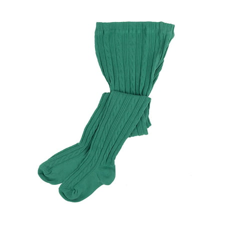 Leveret Girls Knit Cable Tights Green Size 10-14 Years - Bright Green Tights