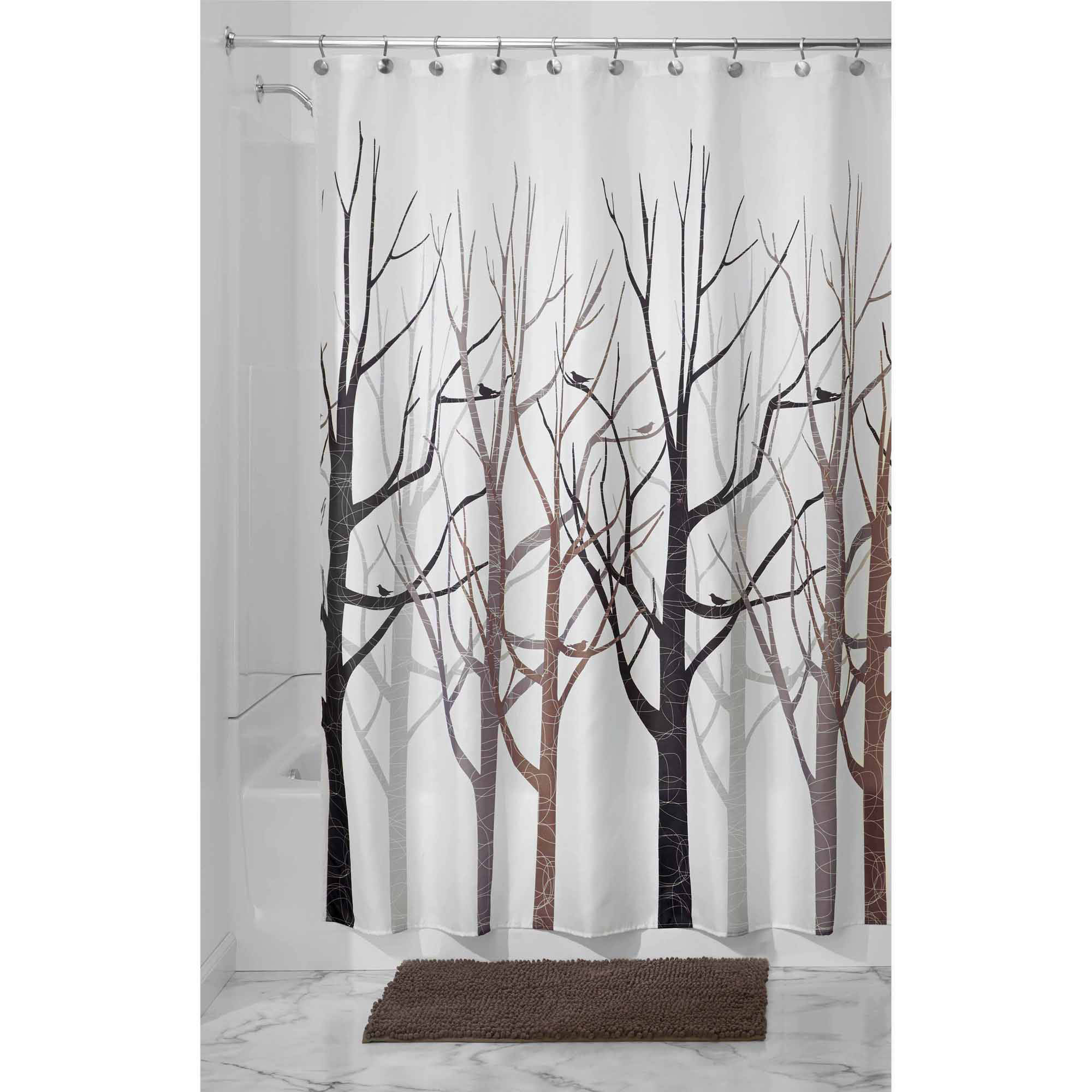"InterDesign Forest Fabric Shower Curtain, Standard 72"" x 72"", Black/Gray"