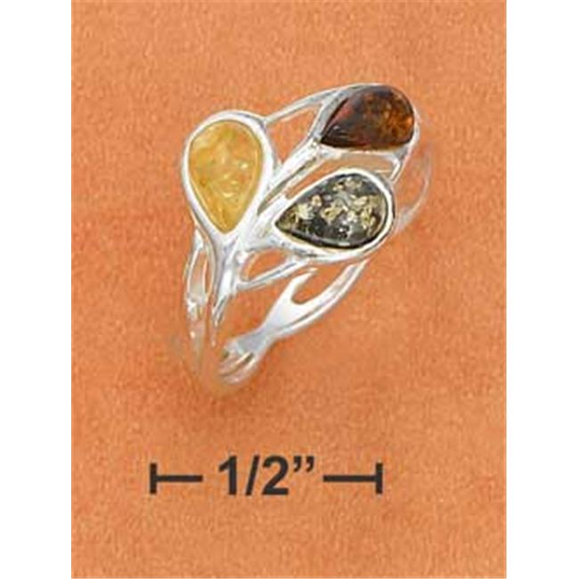Plum Island Silver SR-2459-10 Sterling Silver Multicolor Amber Teardrops with Weave Band Ring - Size 10