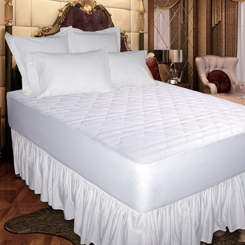 Newpoint 400-Thread Count Cotton Jacquard Mattress Pad, White