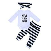 Everpert 3pcs/Set Baby Long Sleeves Romper Black White Stripe Pants Headband(70)-177500.01