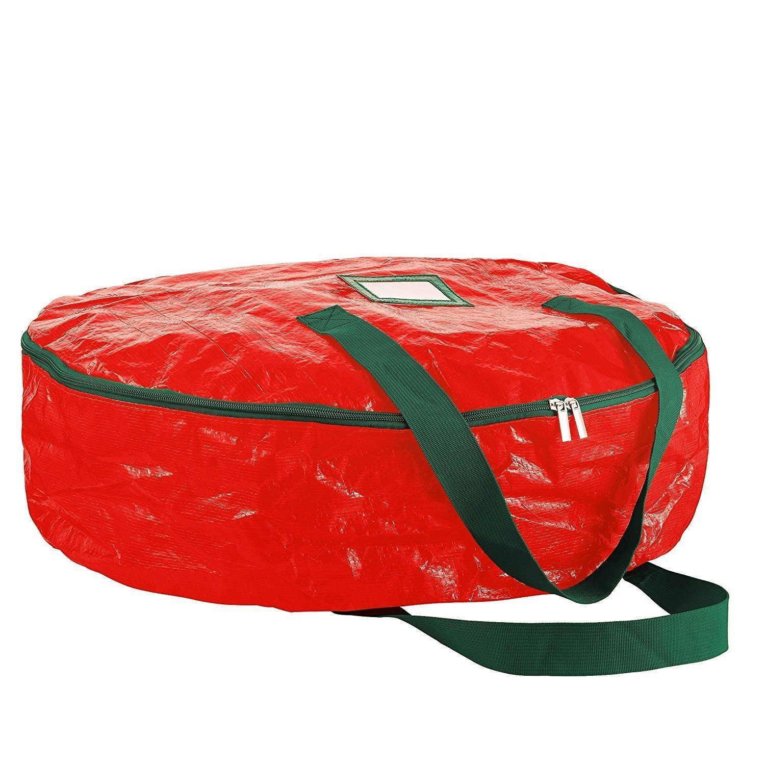 "Christmas Wreath Storage Bag 36"" - Tear Resistant Material Storage Bag for Wreath Storage With Sleek Zipper, Featuring Transparent Card Slot 36""L 36""W 8""H (Red)"