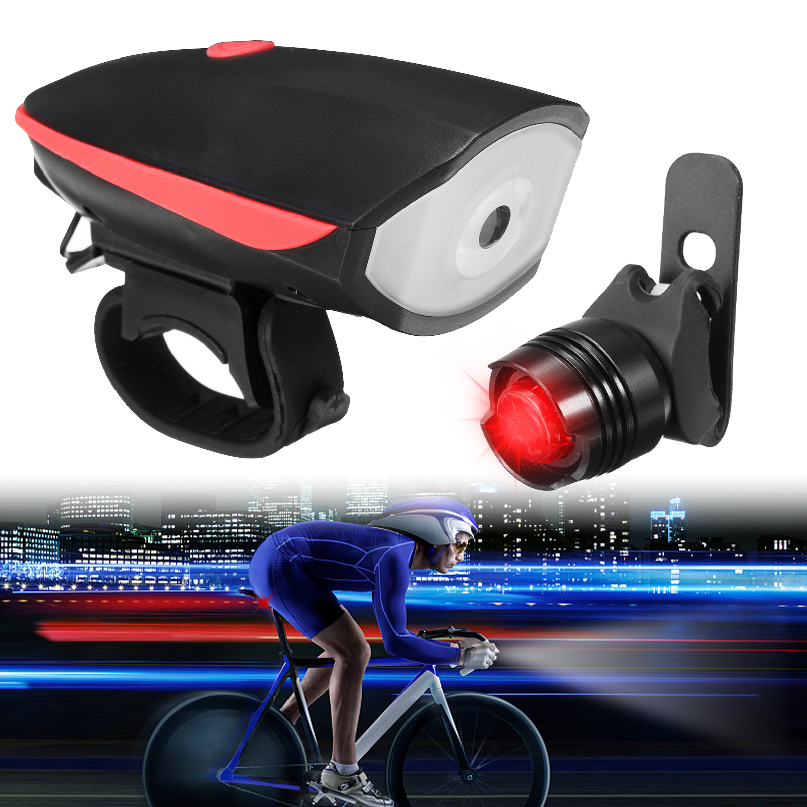 Bike Headlight Taillight Set, EEEKit Waterproof USB Rechargeable Super Bright Bike Light Head & Tail Light Set, Black & Red