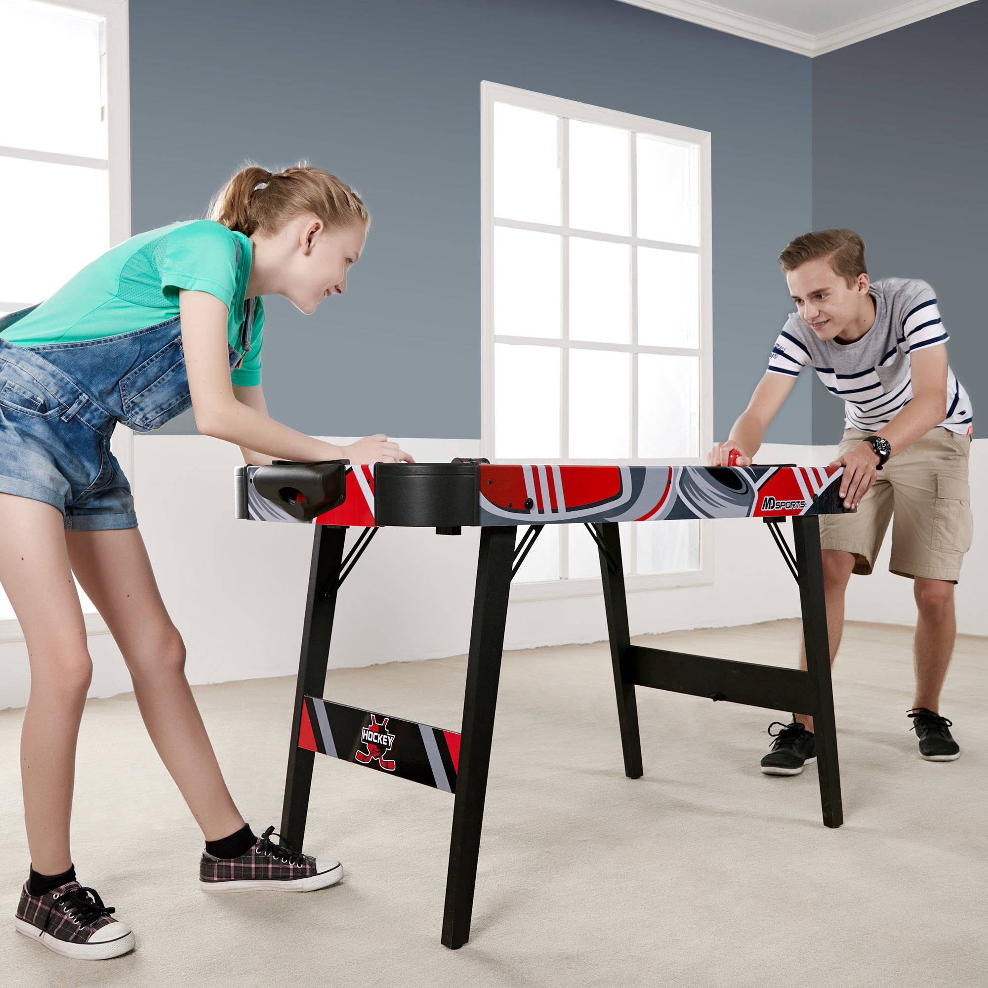 MD Sports Easy Assembly 48 Inch Air Powered Hockey Table, Space-Saving Design, Foldable Legs