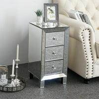 Ktaxon 3-Drawer Mirrored End Table Nightstand Glass Bedside Table Furniture for Bedroom, Living Room, Sliver