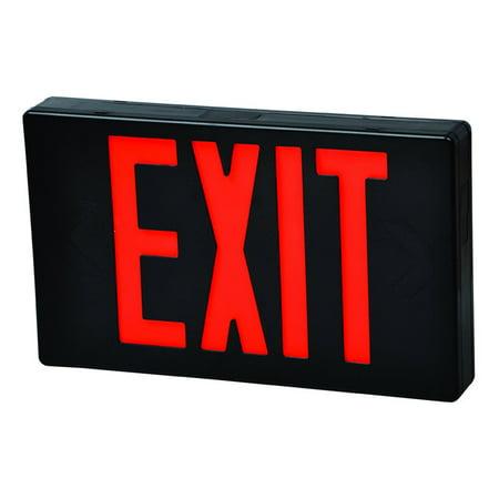 - LED Exit Sign Red LED Black Housing Battery Backup