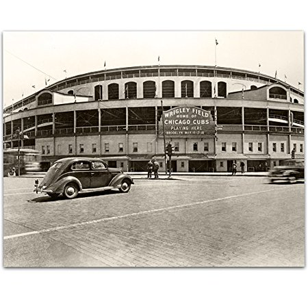 European Gift Bar Star - Lone Star Art Vintage Wrigley Field Photograph - 11x14 Unframed Print - Great Sports Bar Decor and Gift for Baseball Fans