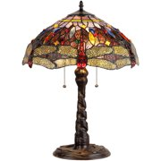 "Chloe Lighting Dragan Tiffany-Style 2-Light Dragonfly Table Lamp with 16"" Shade"