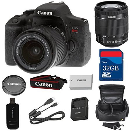 Canon Slr Memory Card (Canon T6i Digital SLR EF-S 18-55mm IS STM Lens + High Speed 32GB Memory Card + High Speed Reader + Wi-Fi Enabled  (Certified)