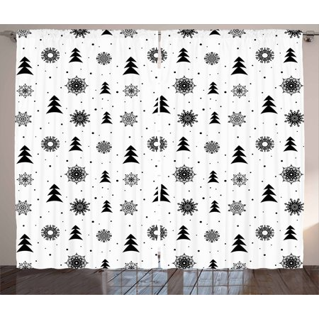 Nordic Curtains 2 Panels Set, Christmas Pine Trees Snowflakes Noel Winter North Holiday Celebration Graphic Art, Window Drapes for Living Room Bedroom, 108W X 63L Inches, Black White, by Ambesonne