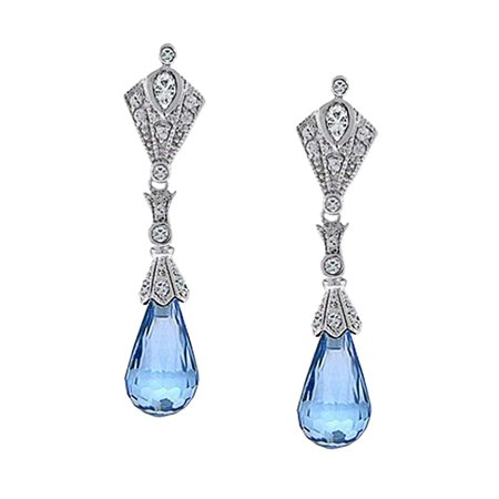 Vintage Deco Style Aqua Blue Briolette Faceted Teardrop Cubic Zirconia CZ Chandelier Earrings For Women Sterling Silver