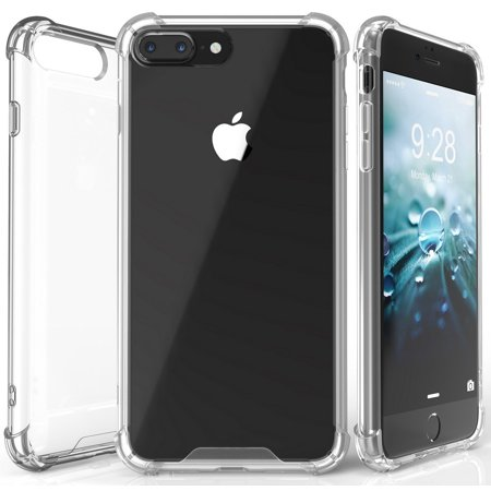 iPHONE 7/8 PLUS CLEAR CASE, BEYOND CELL AQUAFLEX CLEAR FLEXIBLE TPU SHOCK ABSORBING BUMPER CASE COVER WITH TRANSPARENT HARD BACKSIDE FOR APPLE iPHONE 7/8 PLUS (5.5