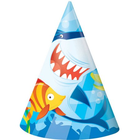 Ocean Shark Party Hats, 8-Count