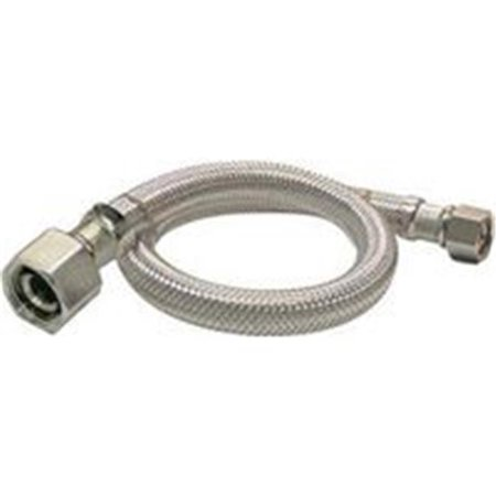 Chrome Plated Steel Tube (EZ Faucet Supply Tube, 0.375 x 0.50 in. Compression x FIP, 36 in. - Stainless Steel - Chrome)