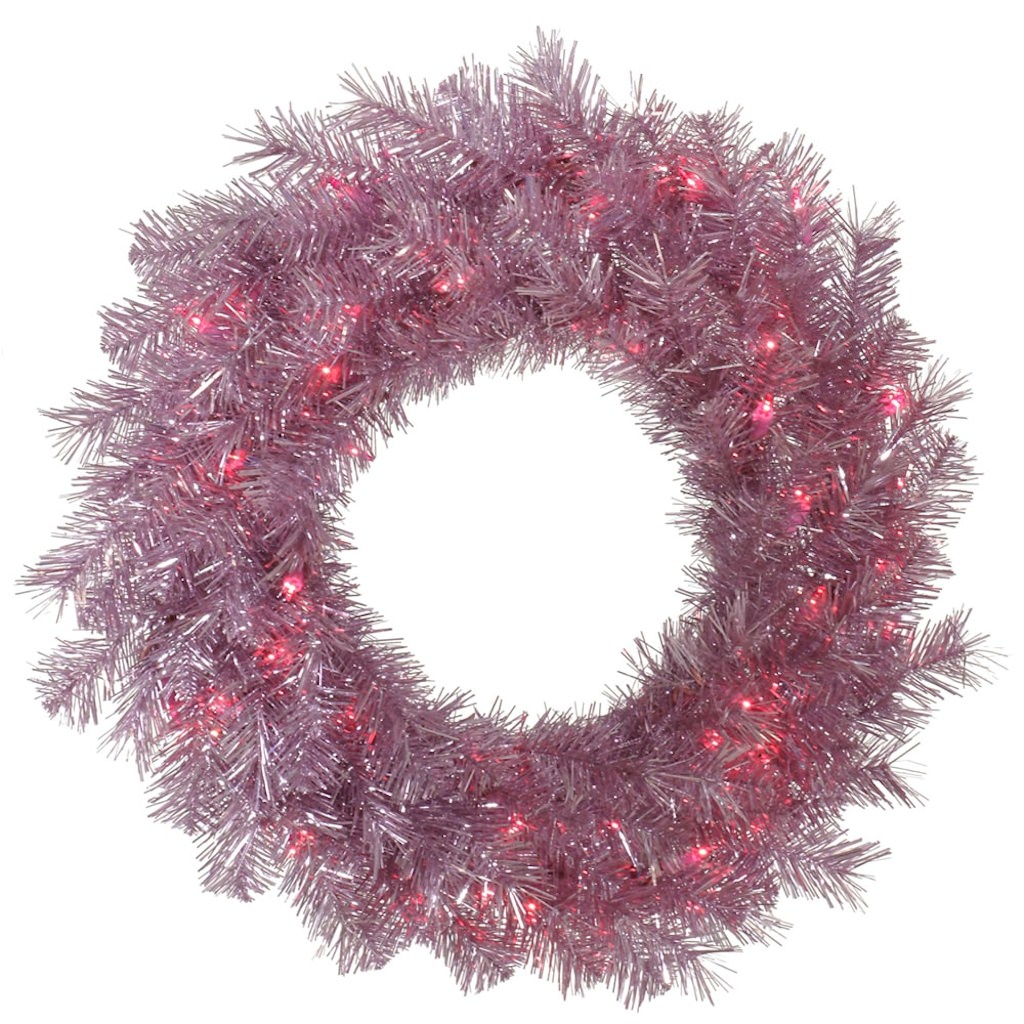 """Vickerman 32920 - 60"""" Orchid Pink Tinsel 200 Pink Miniature Lights Christmas Wreath (A147161)"""