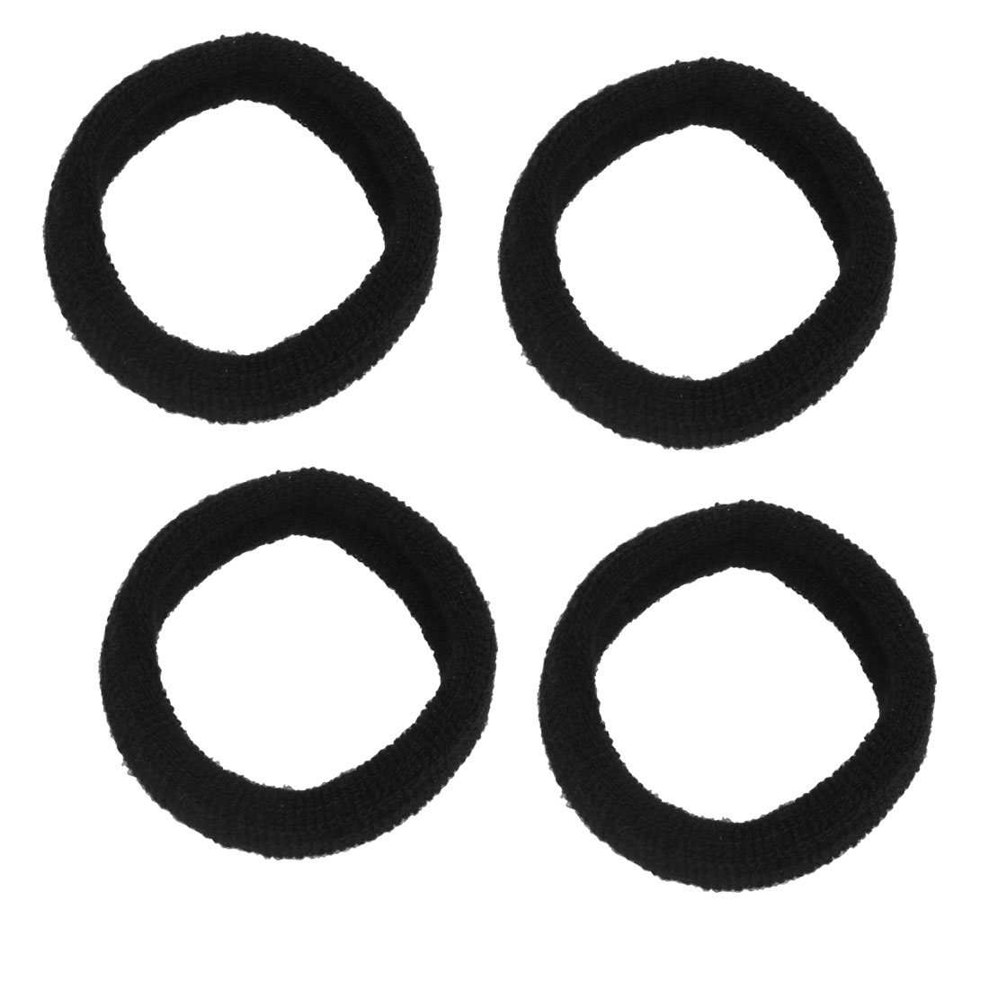 4 Pcs Black Ribbed Elastic Wide Ponytail Holder Hair Tie Band