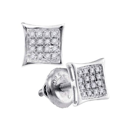 - Sterling Silver Womens Round Diamond Square Kite Cluster Stud Earrings 1/10 Cttw