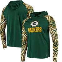 Green Bay Packers Zubaz Team Logo Long Sleeve Hooded T-Shirt - Green/Gold