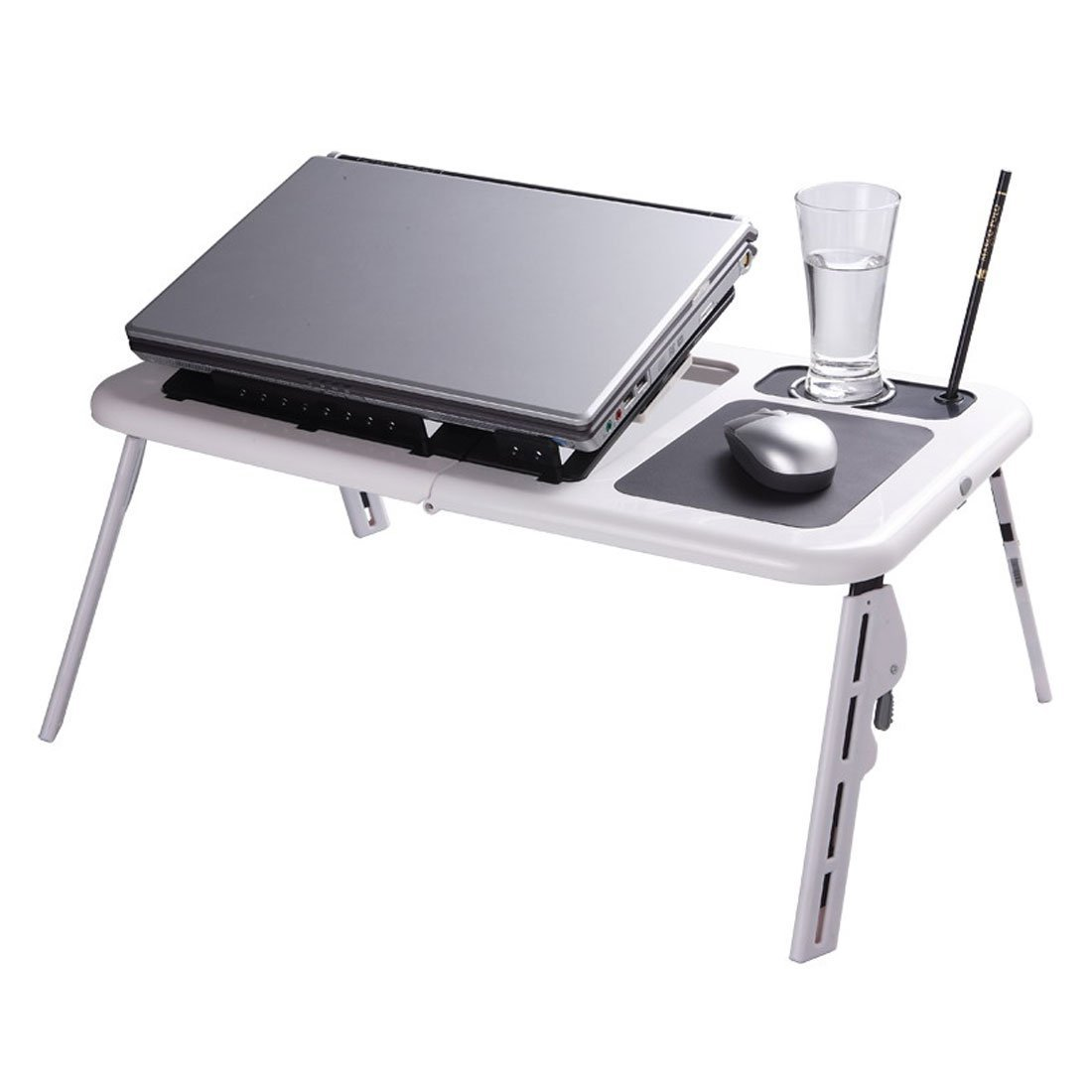laptop desk stand portable folding with adjustable legs 2 cooling fansusb port and