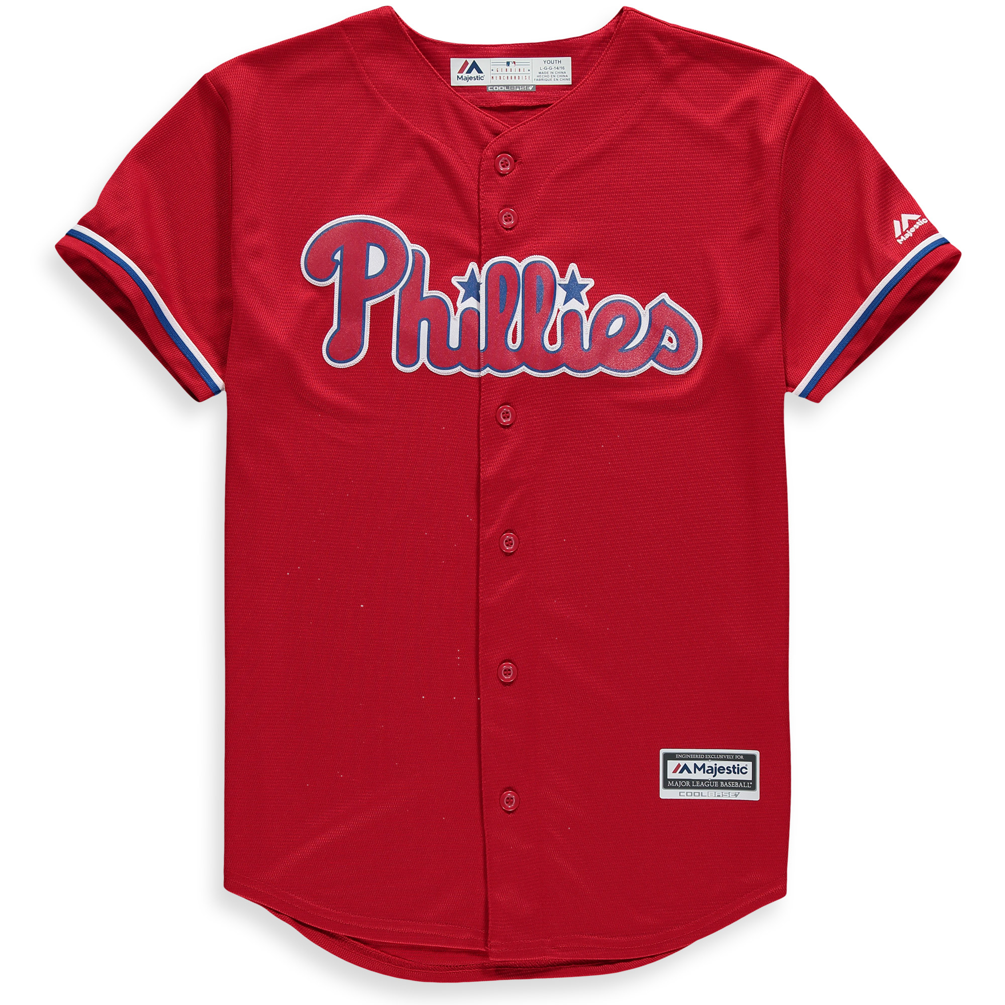 Philadelphia Phillies Majestic Youth Official Cool Base Team Jersey - Red
