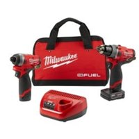Milwaukee M12 FUEL 12-Volt Lithium-Ion Brushless Cordless 1/2 in. Drill Driver and 1/4 in. Hex Impact Driver Combo Kit  2596-22