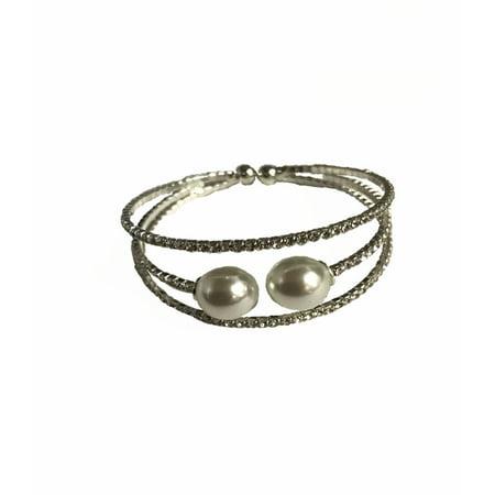 Jacqueline Kent - Wrap Bracelet - Pearl & Metallic Crystal