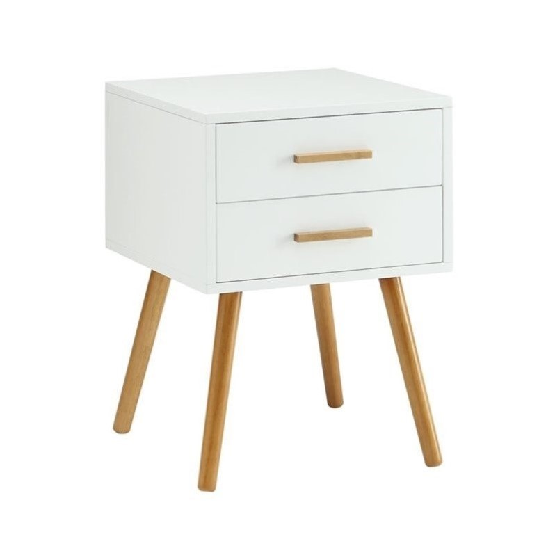 Convenience Concepts Oslo 2 Drawer End Table in White - image 1 of 3