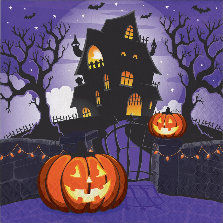 "Haunted House Pumpkin Halloween 16 Ct 6.5"" Luncheon Napkins"