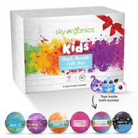 Kids Bath Bombs Gift Set with Surprise Toys Inside (6 ct) By Sky Organics Fun Assorted Colored Jumbo Bath Fizzies Kid Friendly Gender-Neutral Bath Bombs Made in the USA Bubble Bath Fizzy Set