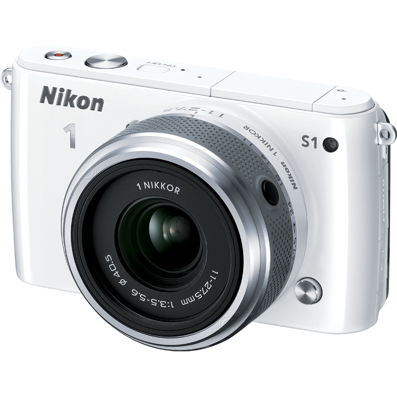 "Nikon 1 S1 10.1 Megapixel Mirrorless Camera with Lens (Body with Lens Kit) - 11 mm - 27.50 mm - White - 3"" LCD - 16:9 - 2.5x Optical Zoom - Digital (IS) - 3872 x 2592 Image - 1920 x 1080 Video - HDMI"