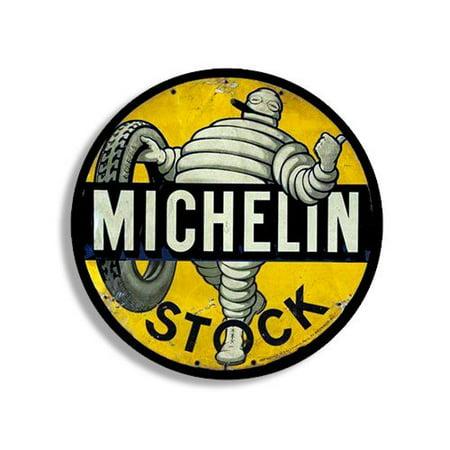 Round Vintage MICHELIN Stock Tire Sticker (gas gasoline logo old rat rod)