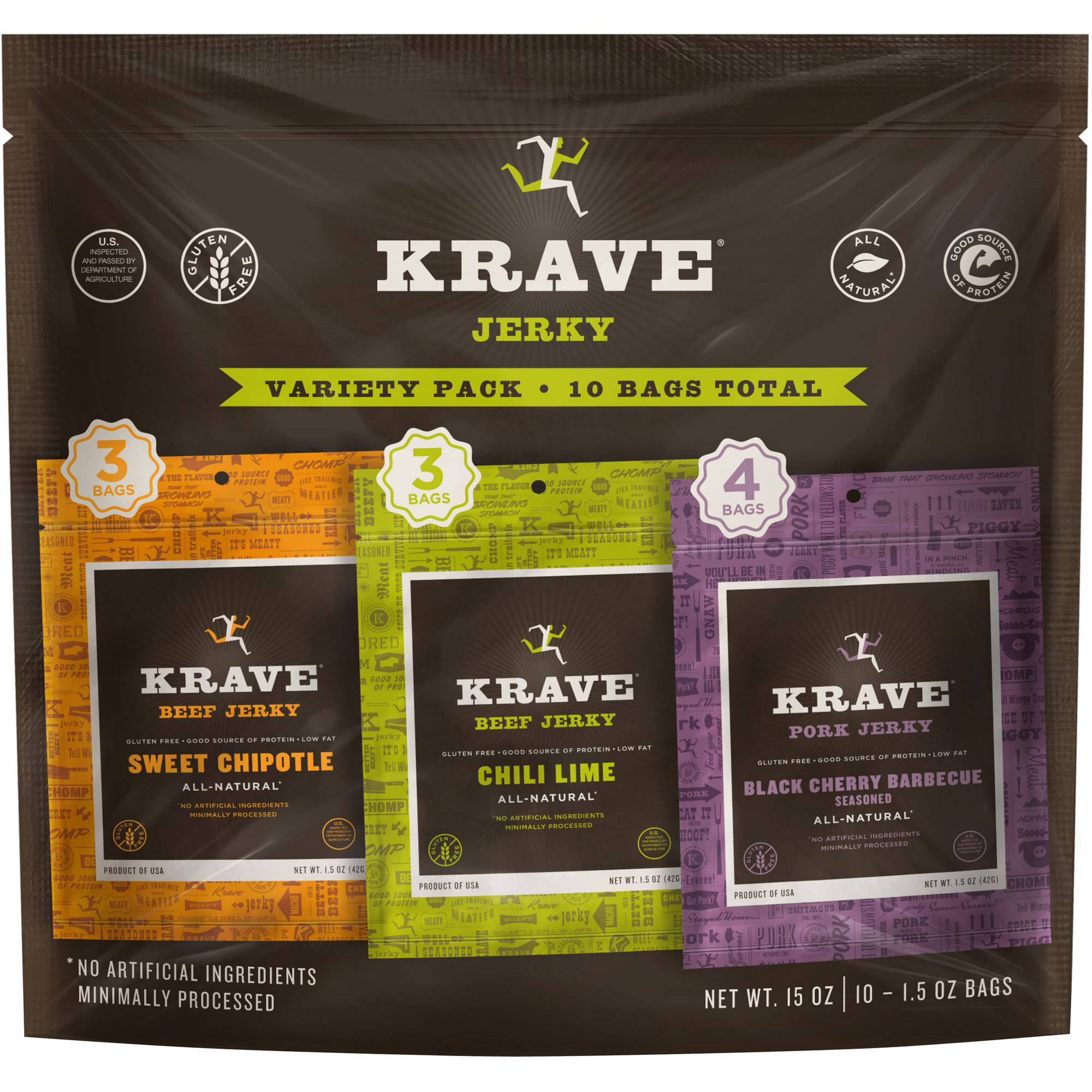 Krave Jerky Variety Pack (3 Krave Jerky Chili Lime, 3 Krave Jerky Sweet Chipotle and 4 Krave Jerky Black Cherry Barbecue), 10 ct, 1.5 oz each