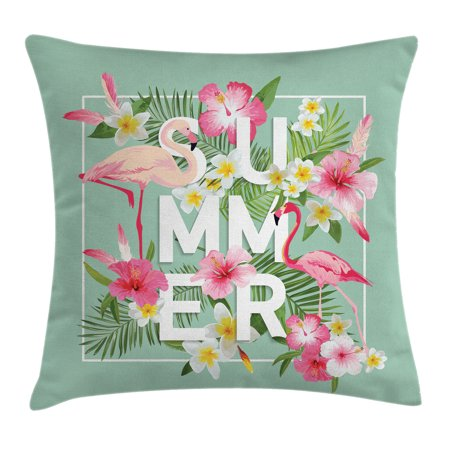 Floral Decor Throw Pillow Cushion Cover, Tropical Flower with Flamingos Retro Wedding Romance Petals Graphic Art, Decorative Square Accent Pillow Case, 16 X 16 Inches, Mint Green Pink, by - Tropical Flower