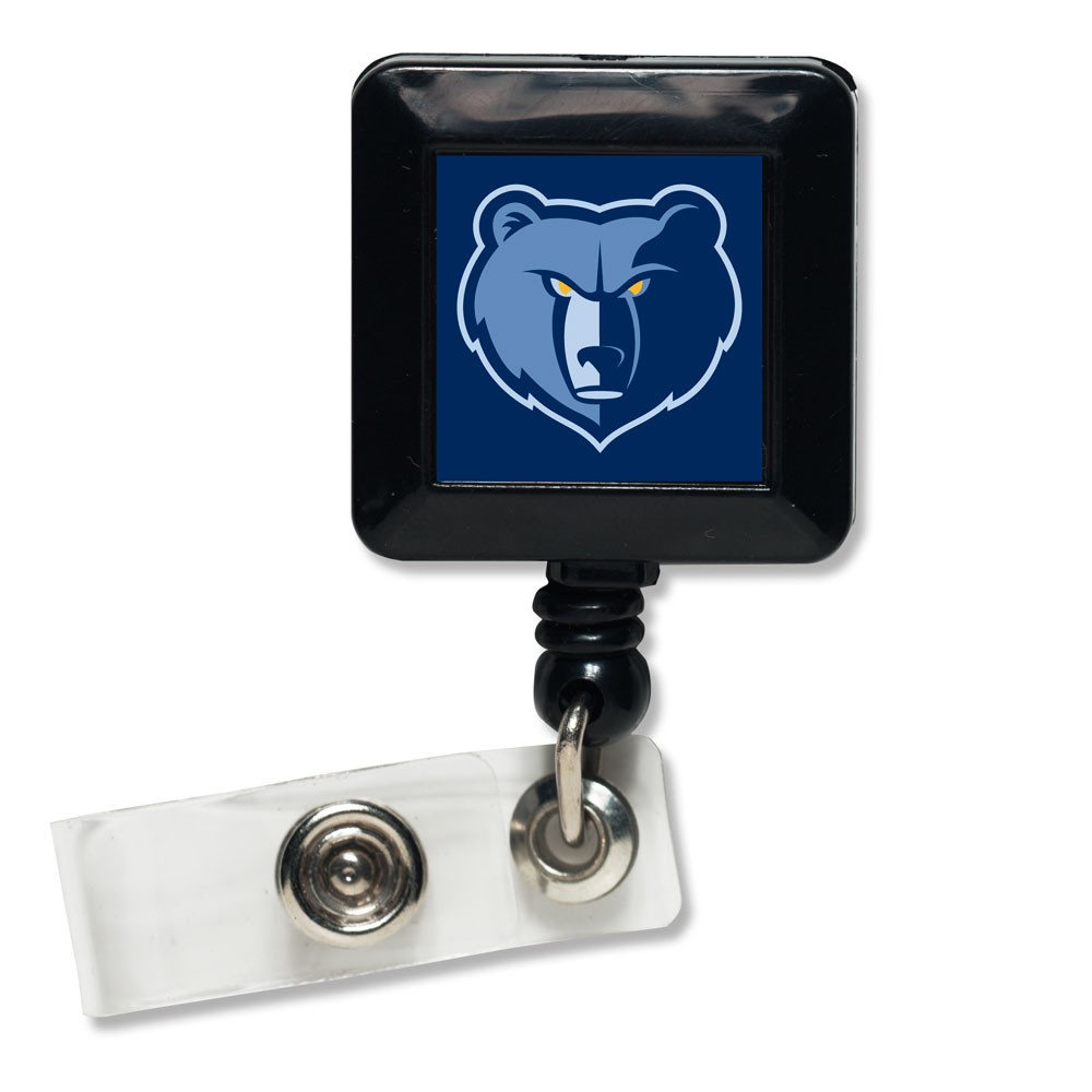 Memphis Grizzlies Official NBA 1 inch x 1 inch  Retractable Badge Holder Key Chain Keychain by WinCraft