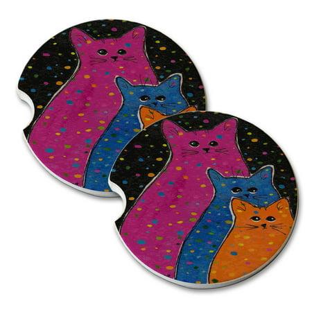KuzmarK Sandstone Car Drink Coaster (set of 2) - Three Fiesta Polka Dot Kitties Abstract Cat Art by Denise (Fiesta Coasters)