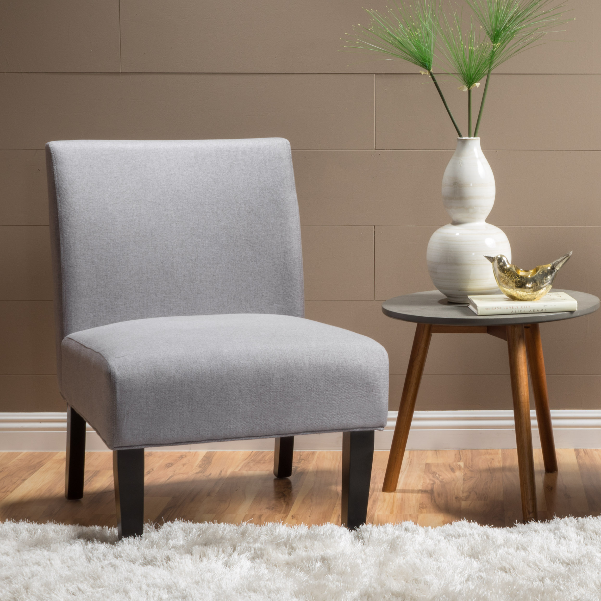 Noble House Cassandra Fabric Accent Chair,Light Grey