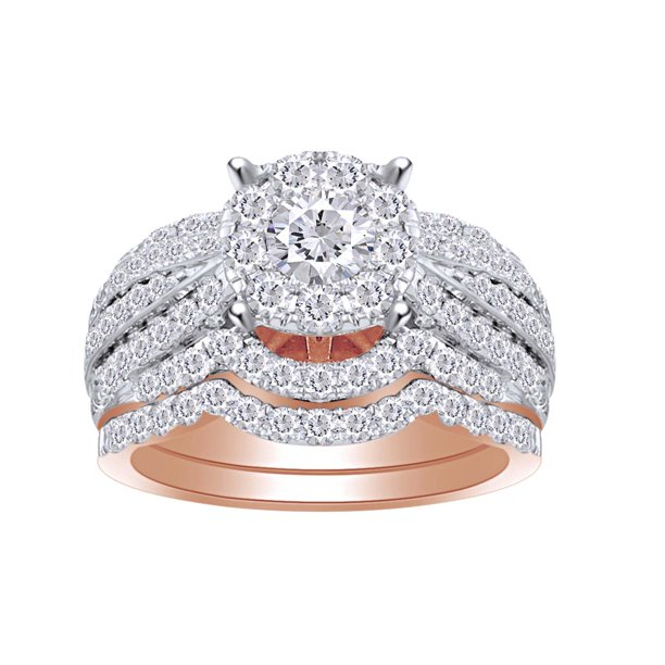 1 3/4 Cttw Womens Round White Natural Diamond Bridal Wedding Engagement Ring Band Set 14Kt Solid Rose Gold (I-J Color, I2-I3 Clarity, 1.75 Carat) Ring Size-8.5