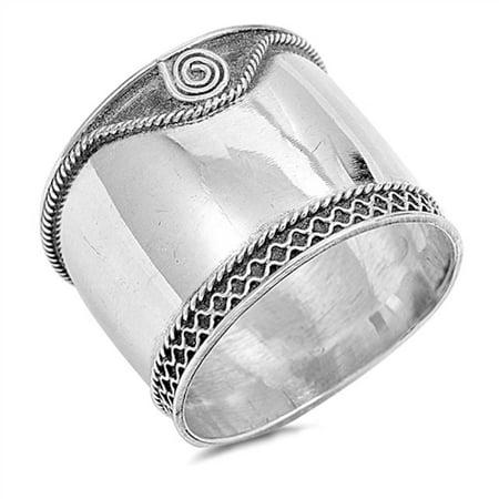 Plain Bali Band .925 Sterling Silver Ring Sizes -
