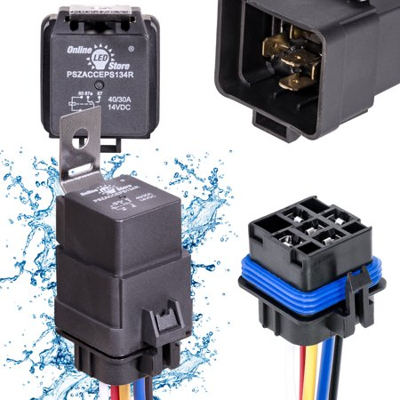 OLS 12V 40/30 Amp 5-Pin SPDT Bosch Style Waterproof Electrical Relay Harness Set