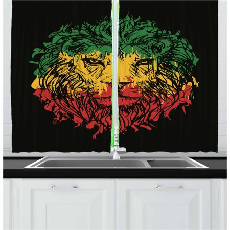 Rasta Curtains 2 Panels Set, Ethiopian Flag Colors on Grunge Sketchy Lion Head with Black Backdrop, Window Drapes for Living Room Bedroom, 55W X 39L Inches, Pale Green and Yellow, by Ambesonne ()