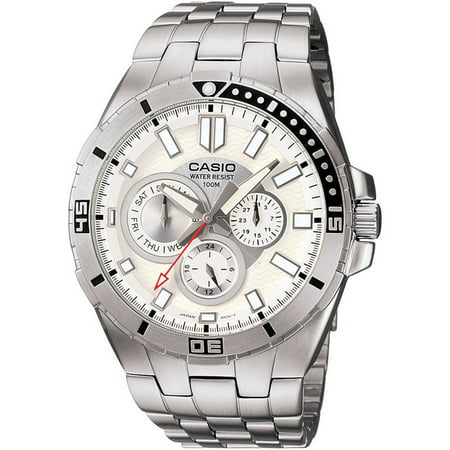 - Men's White Dial Dive-Style Watch, Stainless Steel Bracelet
