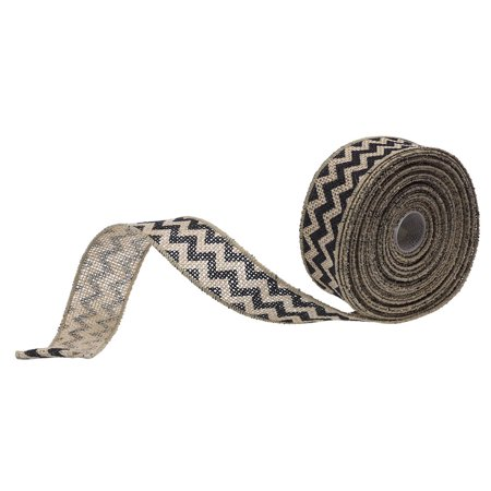 JAM Paper Chevron Burlap Ribbon, 1 1/2 Wide x 10 yards, Natural with Black Chevron, Sold individually