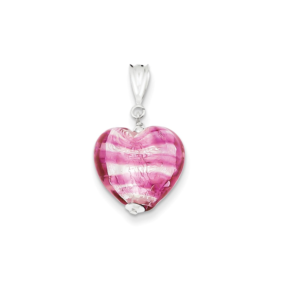 Sterling Silver Rose Heart Murano Glass Pendant