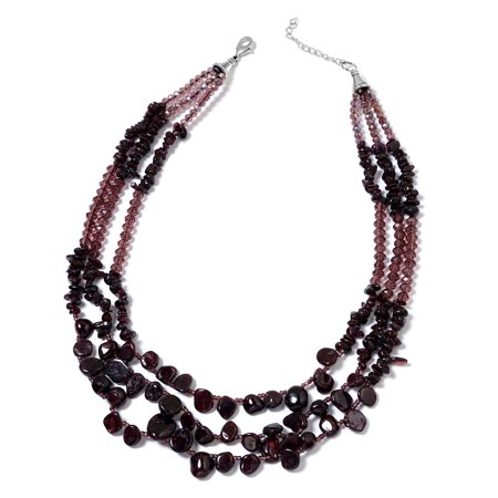 January Womens Necklace (Women's Garnet Glass Necklace Jewelry Gift 18