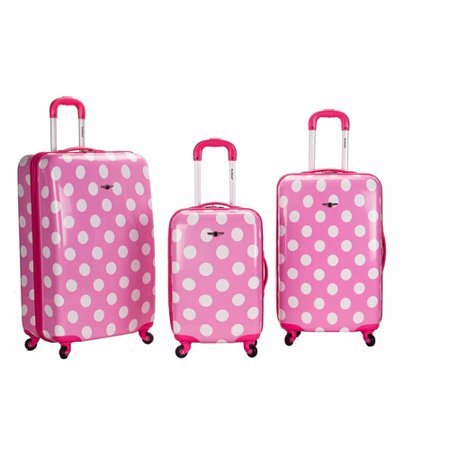 Rockland Luggage 3-Piece Laguna Beach Spinning Luggage Set, Pink Dot