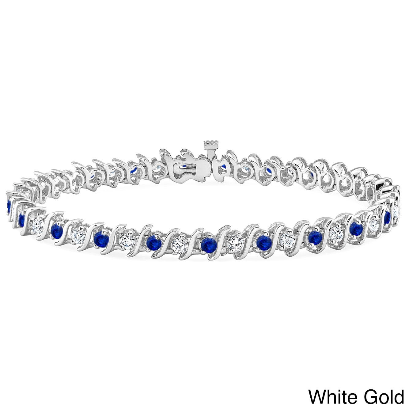 Auriya 14k Gold 5ct Blue Sapphire and 5ct TW Diamond Tennis Bracelet (H-I, SI1-SI2) by Overstock
